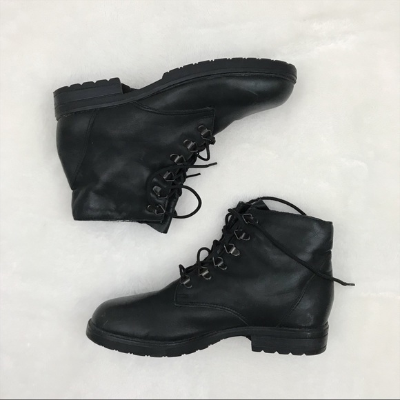 f3f763493656d Vintage 90s Leather Lace Up Ankle Boots 8